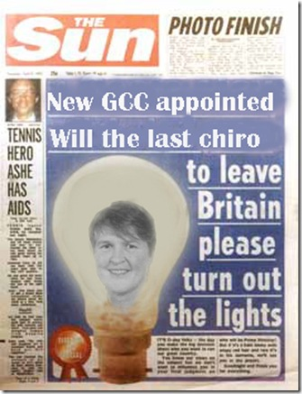 Is this the beginning of the end of Margaret Coats time as Chief executive of the General Chiropractic Council.
